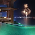 Pool with Fireworks