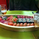 Sumo Royal for 2: Sushi and Sashimi presented in a boat