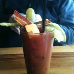 Bloody Mary with bacon and cheese!