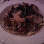 Shrimp, mushroom pasta dish.