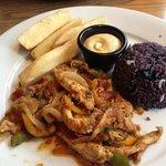 Pollo Salteado and yucca frita