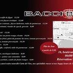 La carte de restaurant Bacchouse Cannes