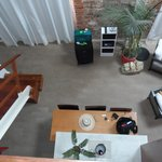 Looking down from the upper level bedroom