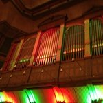 Massive organ pipes above the stage area