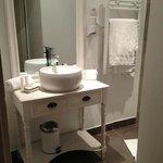 Bathroom with heated towel rack