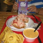 Bulging lobster roll and delicious extras, The Beach Plum, Portsmouth, NY