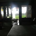 Looking from the Bale Adat room to the private patio and rice fields- Green Fi