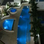 Pool area at night