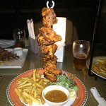 The chicken skewers at the beach restaurant
