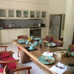 Dining table after staff cooked breakfast