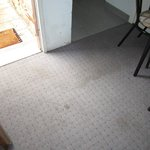 Stained lounge/entrance carpet
