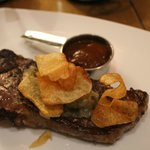 New York strip steak potato chips