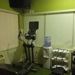 water towels elliptical tv in workout room
