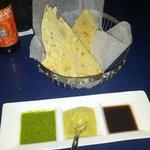 Three sauces: cilantro, hummus and tamarin