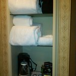 Towels, Hair Dryer, Coffee/Tea Maker & Condiments