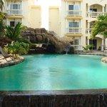 Across pool to condos