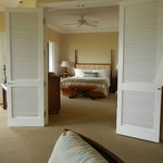 suite french doors and window shutters to block noise