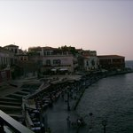 The harbor's west side at dusk from room's balcony