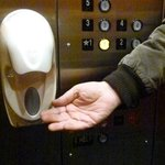 Hand sanitizer in the elevators