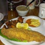 Catfish, potatoes w/ bacon jalapeno gravy. So delish!