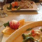 Vegetable Panang Curry and Tofu Pad Thai