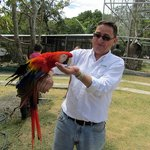 Luis Escobar and macaw