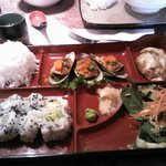bento box, rice, salad, california rolls, and SPECIAL Mussel