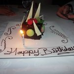 Birthday dessert at The Restaurant