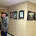 Larry Haun takes in the exhibit at the Strasburg Town Hall