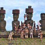 During ceremonies commemorating the arrival of humans to Easter Island