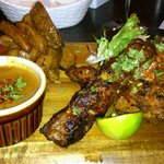 Satay Chicken kebabs & spicy Chinese wedges with Peanut sauce