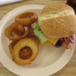 Regular Bacon Cheese Burger with Onion Rings. The Best Bacon