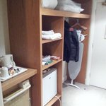 Wardrobe,minibar and kettle