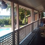 Shared verandah looking into pool area