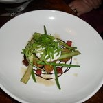 Warm potato salad with chorizo,asparagus and poached egg.