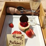 Complimentary birthday cake on the beach. Sweet!