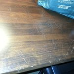 scratched furniture in room.