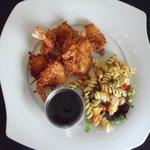Coconut Shrimp w/bourbon sause & Rotini Salad