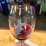 A sample of wine at Blue Coyote Winery