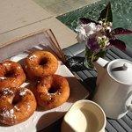 fresh doughnuts and coffee
