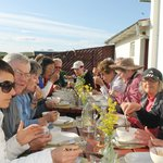 A group of travellers enjoying breakfast at Glacier View Guesthouse