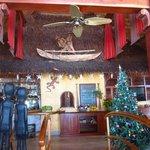 Teh restaurant has good decor, but gets warm despitethe fans