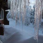 Icicles hanging outside the restaurant