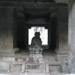 Nandi Temple opposite to the entrance to the caves