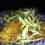fried fish with green mango