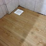 wooden shower floor