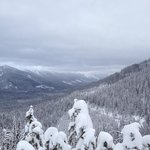 Great view from snowmobile trail in mountains