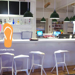 The bar / front desk of Chengdu Flipflop Lounge Hostel