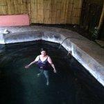 My wife in thermal bath at Hotel El Refugio