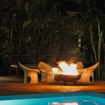 Poolside fire by night.